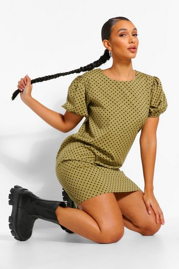 Khaki Polka Dot Puff Sleeve Shift Dress