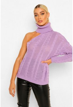 Lilac purple Cut Out Turtleneck Cable Sweater