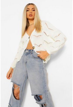 Cream white Pointelle Slouchy Boyfriend Cardigan