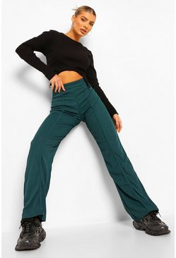 Forest green Riibbed Binding Detail Wide Leg Trouser
