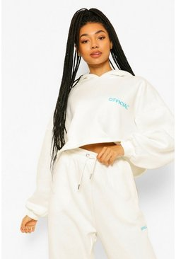 Cream Oversized Slogan Crop Hoodie