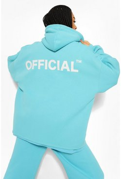 Blue Oversized Zip Through Official Hoodie
