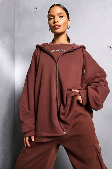 Chocolate brown Brown Oversized Zip Through Official Hoodie