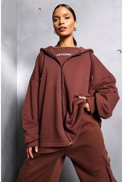 Chocolate brown Oversized Zip Through Official Hoodie