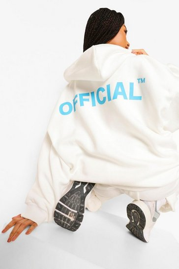 Cream Oversized Zip Through Official Hoodie