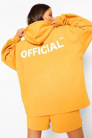 Mustard yellow Yellow Oversized Zip Through Official Hoodie