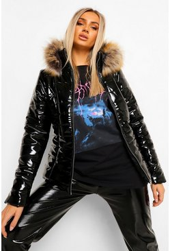 Black Faux Fur Hooded High Shine Padded Jacket