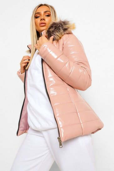Pink Faux Fur Hooded High Shine Padded Jacket