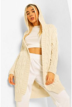 Chunky Cable Hooded Midi Cardigan, Stone beige