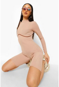 Sand beige Contrast Binding Long Sleeve Ribbed Unitard