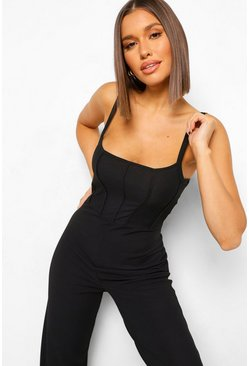 Black Ribbed Binding Detail Strappy Jumpsuit