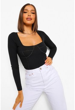 Black Contrast Stitch Long Sleeve Ribbed Bodysuit