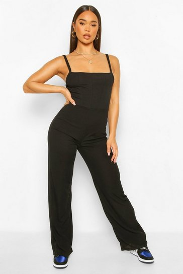 Black Ribbed Binding Detail Strappy Wide Leg Jumpsuit
