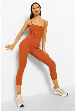 Rust orange Ribbed Binding Detail Strappy Wide Leg Jumpsuit
