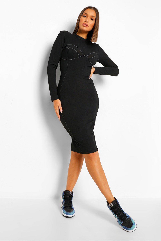£10 & Under Contrast Stitch Ribbed Bodycon Midi Dress