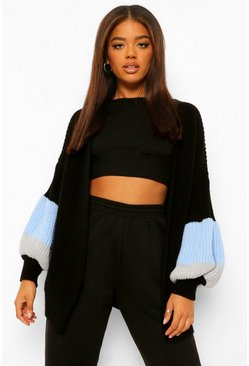 Colour Block Balloon Sleeve Midi Cardigan, Black Чёрный