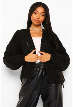 Black Oversized Chunky Cable Cardigan