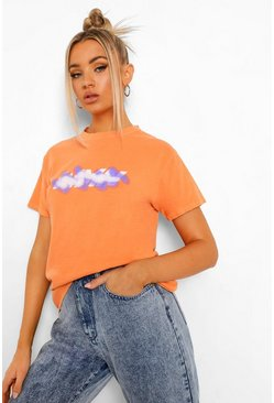 Grafitti Woman Print T-shirt, Orange