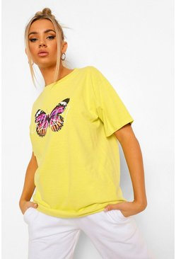 Butterfly Print Woman T-shirt, Lime vert