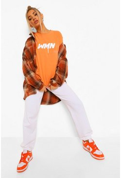 Orange Spraypaint Woman Print T-shirt
