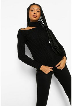 Black Cut Out Detail Jumper And Legging Co-ord