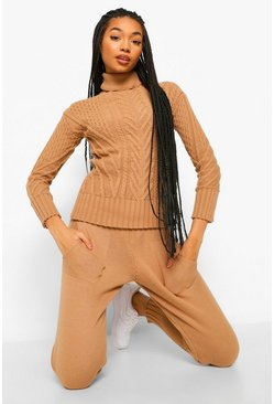 Camel beige Cut Out Detail Jumper And Legging Co-ord