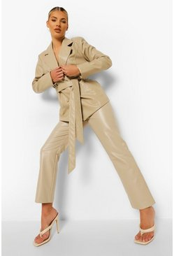 Ecru white Leather Look Straight Leg Trousers
