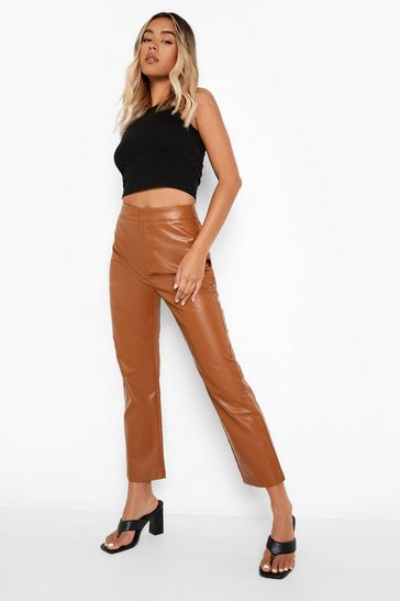 Soft tan beige Leather Look Straight Leg Trousers