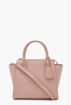 Rose pink Pu Mini Tote Bag With Strap