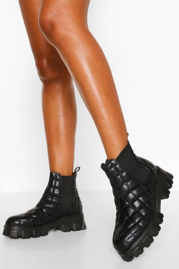 Black Quilted Chunky Platform Chelsea Boots