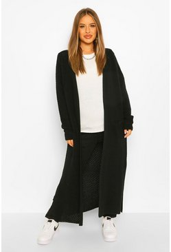 Black Maternity Side Split Maxi Cardigan