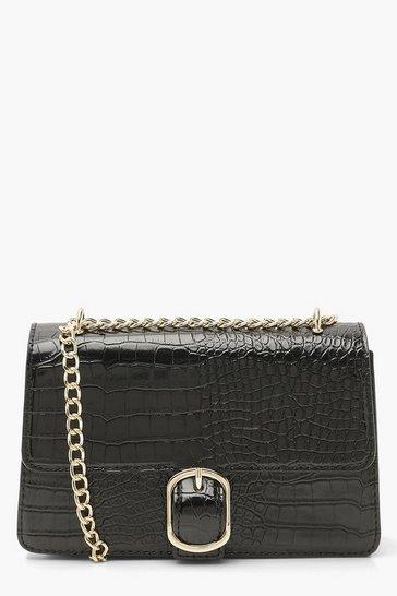 Black Croc Pu Chunky Chain Crossbody Bag