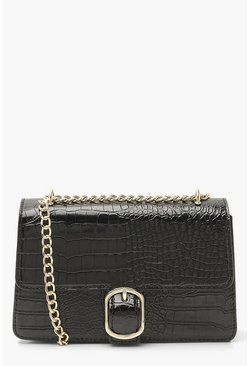 Black Croc Pu Chunky Chain Crossbody Bag
