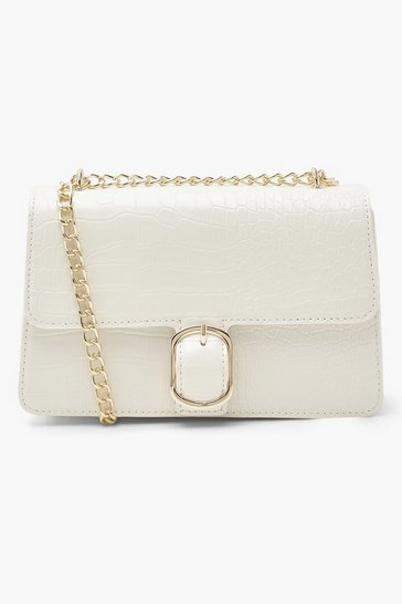 White Croc Pu Chunky Chain Crossbody Bag