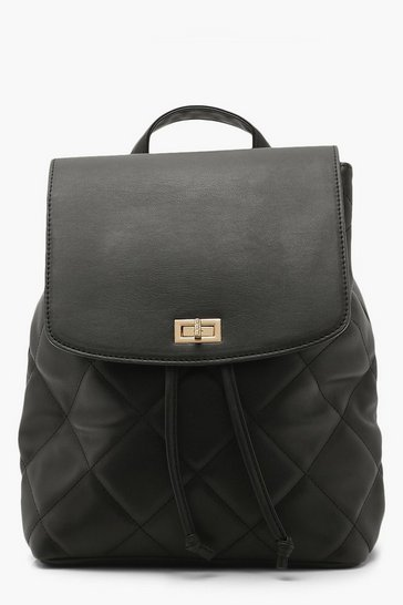 Black Pu Padded And Quilted Rucksack