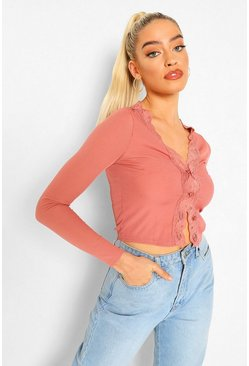 Rose pink Ribbed Lace Trim Cardigan Top