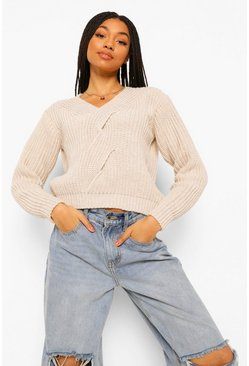 Beige Cable Twist Detail V Neck Sweater