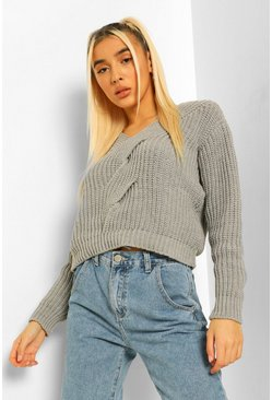 Grey Cable Twist Detail V Neck Sweater
