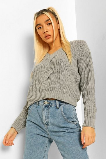 Grey Cable Twist Detail V Neck Jumper