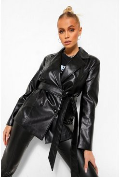 Black Oversized Belted Leather Look Blazer