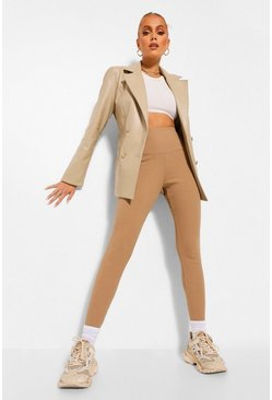 Leather Look Belted Blazer & Trouser Suit Set