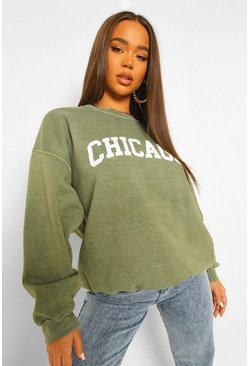Khaki Chicago Slogan Acid Wash Oversized Sweater