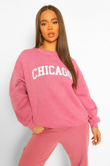 Rose pink Chicago Slogan Acid Wash Oversized Sweater