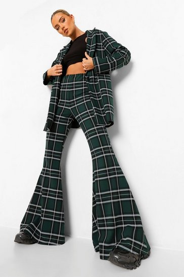 Emerald green Tonal Green Check Super Flared Trousers