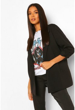 Ruched Sleeve Tailored Blazer, Black nero