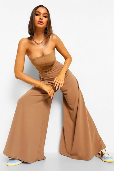 Caramel beige Super Wide Leg Trousers