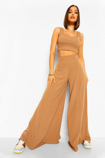 Camel beige Super Wide Leg Pinstripe Trousers