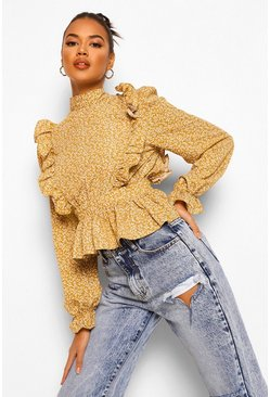 Mustard yellow Ditsy Floral High Neck Open Back Blouse