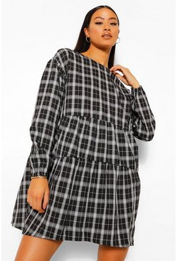 Black Checked Ruched Detail Smock Dress