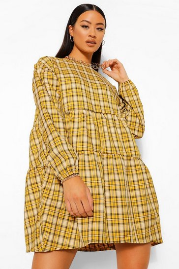 Mustard yellow Checked Ruched Detail Smock Dress